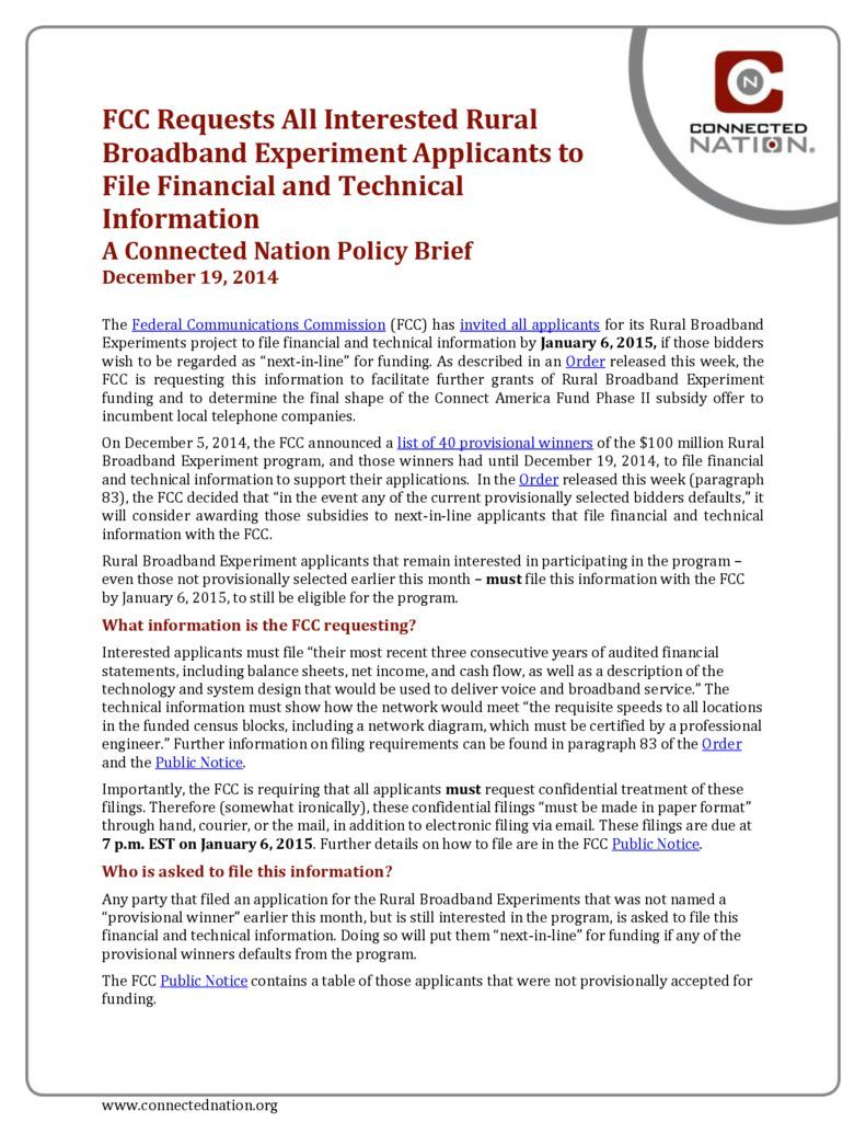 thumbnail of FCC Requests All Interested Rural Broadband Experiment Applicants to File Financial and Technical Information: A Connected Nation Policy Brief