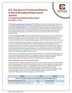 thumbnail of FCC Announces Provisional Winners in Rural Broadband Experiment Auction: A Connected Nation Policy Brief