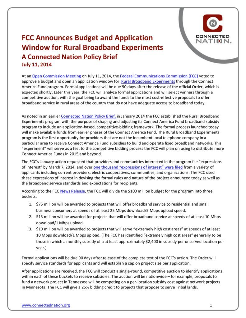 thumbnail of FCC Announces Budget and Application Window for Rural Broadband Experiments: A Connected Nation Policy Brief