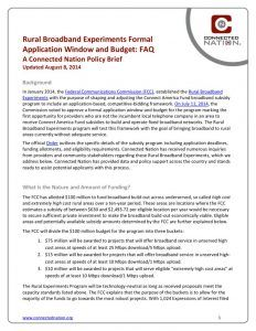 thumbnail of Rural Broadband Experiments Formal Application Window and Budget FAQ: A Connected Nation Policy Brief