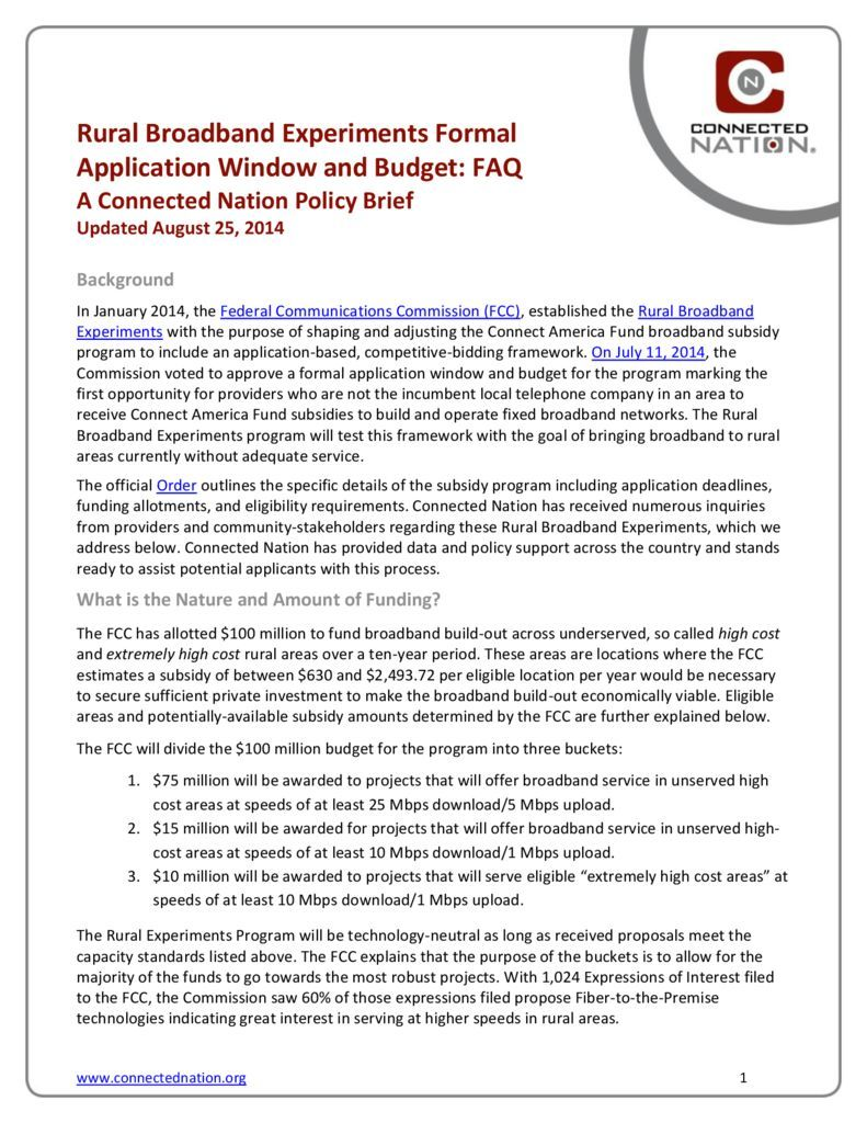 thumbnail of NEW: Rural Broadband Experiments Formal Application Window and Budget FAQ: A Connected Nation Policy Brief