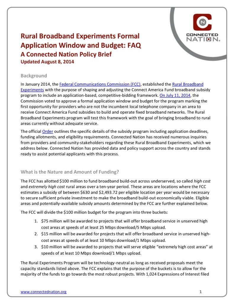 thumbnail of UPDATED: Rural Broadband Experiments Formal Application Window and Budget FAQ: A Connected Nation Policy Brief