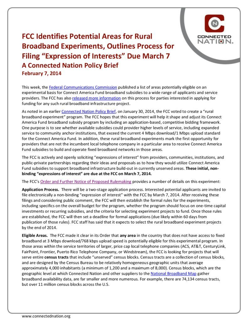 "thumbnail of FCC Identifies Potential Areas for Rural Broadband Experiments, Outlines Process for Filing ""Expression of Interests"" Due March 7: A Connected Nation Policy Brief"