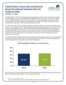 thumbnail of United States Census Bureau Releases Home Broadband Adoption Data for South Carolina