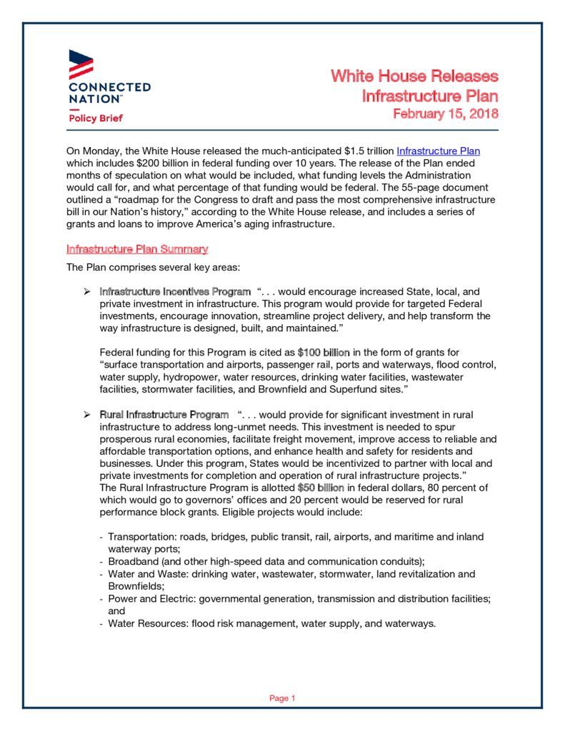 thumbnail of Policy Brief – WH Infrastructure Plan_Final
