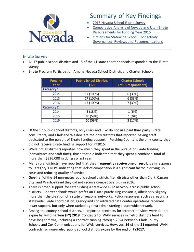 thumbnail of Summary of Key Findings – 2016 NDE E-rate Reports