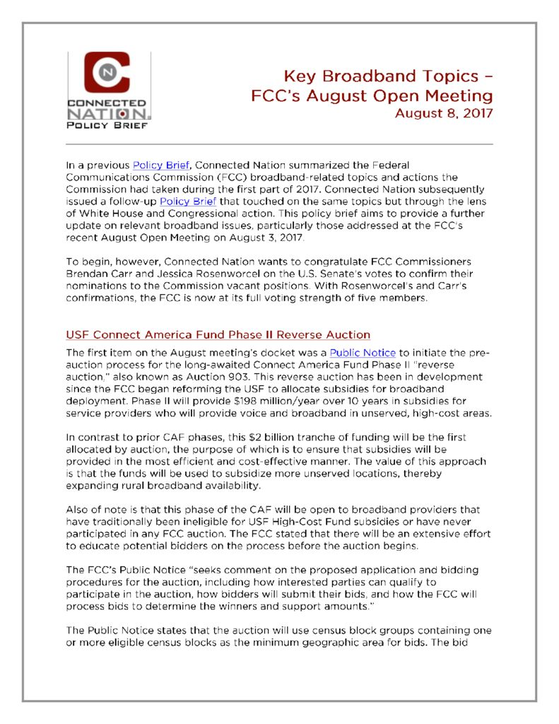 FCC August Open Meeting | Connected Nation